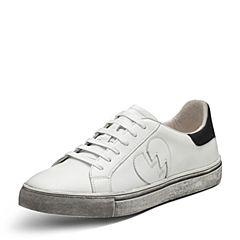 Hush Puppies/暇步士2017春专柜同款白色牛皮时尚潮人男休闲鞋板鞋情侣鞋小脏鞋小白鞋B1C01AM7