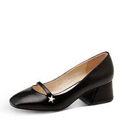 Hush Puppies/暇步士2017春季黑色羊皮中粗跟优雅风女浅口单鞋玛丽珍鞋A1D01AM7