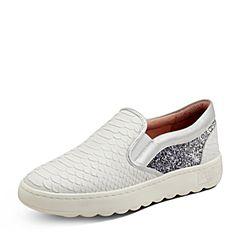 Puppies/暇步士秋季专柜同款白色牛皮/布/羊皮裂面压花舒适女休闲鞋乐福鞋HMK20CM7