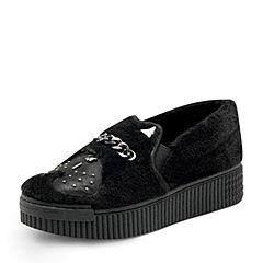 Hush Puppies/暇步士2017年秋季专柜同款黑色毛绒布女舒适休闲鞋子HLZ21CM7