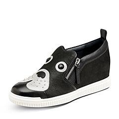 Hush Puppies/暇步士2017秋季专柜同款黑色羊皮铆钉内增高女休闲鞋恶犬系列HLX38CM7