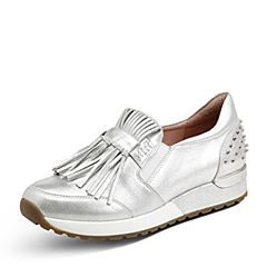 Hush Puppies/暇步士2017秋季专柜同款银色羊皮流苏铆钉运动风女休闲鞋HKL30CM7