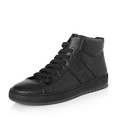 Hush Puppies/暇步士2017年冬季专柜同款浅黑色牛皮个性休闲男皮靴H2T50DD7