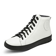 Hush Puppies/暇步士2017年冬季专柜同款白色牛皮舒适休闲男皮靴H2T47DD7