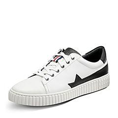 Puppies/暇步士秋季新款专柜同款白色牛皮系带运动风男休闲板鞋小白鞋F1A02CM7