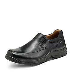Hush Puppies/暇步士秋季专柜同款黑色牛皮革平底男休闲鞋X1L03CM7