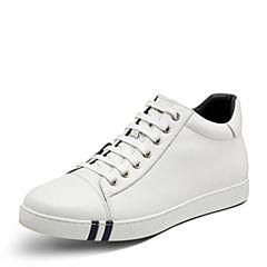 Hush Puppies/暇步士2017年冬季专柜同款白色牛皮系带舒适男休闲低靴小白鞋C1B02DD7