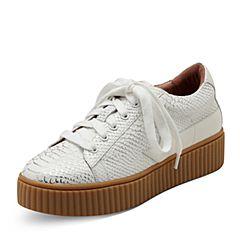 Puppies/暇步士秋季专柜同款白色牛皮厚底舒适女休闲鞋R1A01CM7