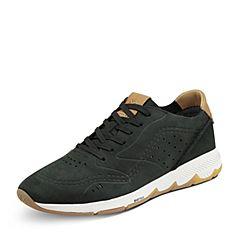 Hush Puppies/暇步士秋季专柜同款黑色牛皮鞋简约舒适男休闲鞋01728CM7