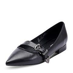 Hush Puppies/暇步士秋季黑色羊皮饰扣尖头方跟女浅口单鞋J1C01CQ7