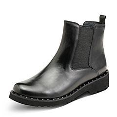 Hush Puppies/暇步士冬季专柜同款黑色油皮牛皮革女皮靴短靴切尔西靴HMM79DD7