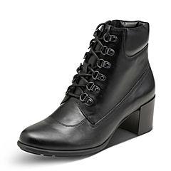 Hush Puppies/暇步士2017年冬季专柜同款黑色牛皮时尚粗跟系带女皮靴HMJ42DD7