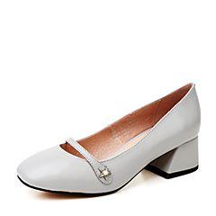 Hush Puppies/暇步士秋季灰色羊皮浅口单鞋粗跟女皮鞋D1C01CQ7