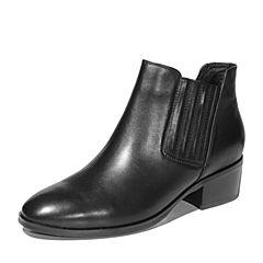Hush Puppies/暇步士冬季专柜同款黑色牛皮革粗跟女皮靴短靴P1J01DD7