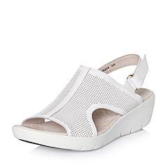 Hush Puppies/暇步士2018夏季专柜同款白色牛皮镂空坡跟女凉鞋HNA06BL8