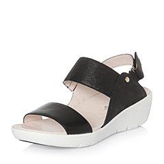 Hush Puppies/暇步士2018夏季专柜同款黑色羊皮/牛皮坡跟女皮凉鞋HNA01BL8