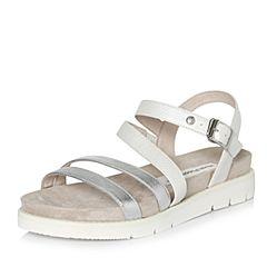 Hush Puppies/暇步士2018夏季专柜同款白/银色羊皮革/牛皮革厚底女凉鞋罗马鞋HLT06BL8