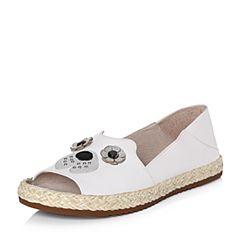 Hush Puppies/暇步士2018夏季专柜同款白色牛皮女皮凉鞋前空鱼嘴鞋HJX10BU8