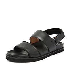 Hush Puppies/暇步士2018夏季专柜同款黑色牛皮革罗马风男皮凉鞋H4Q09BL8