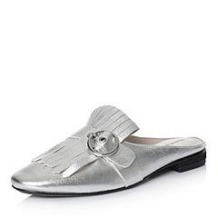 Hush Puppies/暇步士2018夏季专柜同款银色牛皮穆勒鞋女凉鞋HBM06BH8