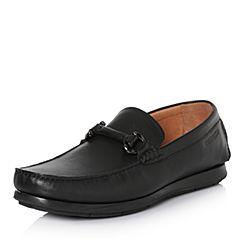 Hush Puppies/暇步士2018春季专柜同款黑色牛皮商务男休闲鞋乐福鞋B1M01AM8