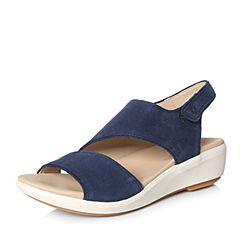 Hush Puppies/暇步士2018夏季专柜同款深蓝色牛皮坡跟女皮凉鞋06317BL8