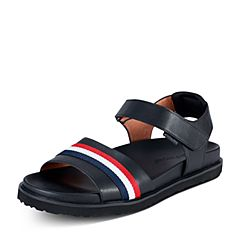 Hush Puppies/暇步士2018夏季新款专柜同款黑色牛皮革/弹力布条纹休闲男凉鞋H4Q12BL8