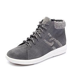 Hush Puppies/暇步士2018冬季新款专柜同款灰色牛皮革/毛绒布绒里女休闲靴短靴HNP43DD8
