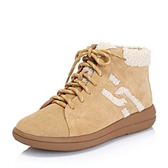 Hush Puppies/暇步士2018冬季新款专柜同款杏/米色牛皮革/毛绒布绒里女休闲靴短靴HNP43DD8