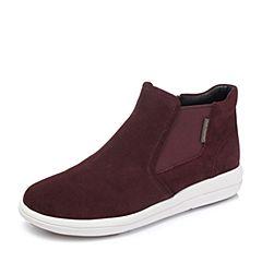 Hush Puppies/暇步士2018冬季新款专柜同款酒红色牛皮革女短靴及裸靴HNP41DD8