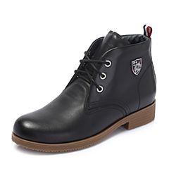 Hush Puppies/暇步士2018冬季新款专柜同款黑色牛皮革街头风女马丁靴HMM52DD8