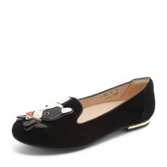 Hush Puppies/暇步士秋季新款黑色羊皮革平跟女休闲鞋狗狗鞋B2E01CM8