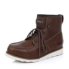 INNET百丽旗下休闲舒适头层牛皮深棕色男士低靴62I60DZ4