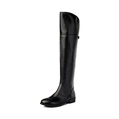 百丽旗下INNET/茵奈儿年冬季黑色油蜡PU革女靴(绒里)UJB60DC5