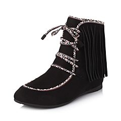 百丽旗下INNET/茵奈儿年冬季黑色布/牛皮女靴UMA23DD5