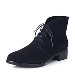 百丽旗下INNET/茵奈儿年冬季蓝色时尚羊绒皮女靴418-1DD5