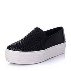 百丽旗下INNET/茵奈儿2016春季黑色PU女鞋UNL40AM6