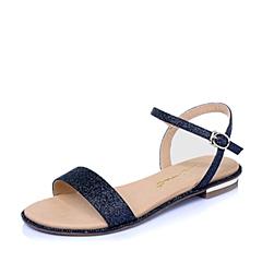 百丽旗下INNET/茵奈儿2016年夏季深兰色亮片布女凉鞋UVA05BL6