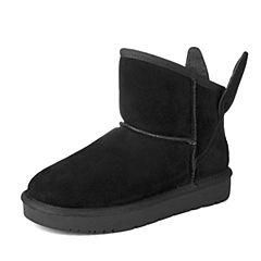 百丽旗下INNET/茵奈儿2016冬季黑色牛剖层革女雪地靴66455DD6