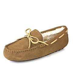 百丽旗下INNET/茵奈儿2016冬季棕色牛剖层革/牛皮女单鞋A5612DM6
