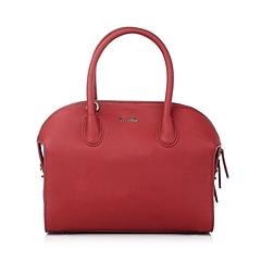 Ist belle/百丽箱包酒红色缩纹牛剖层皮革手袋11358DX5