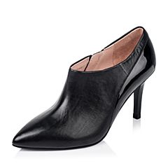 Joy&Peace/真美诗年秋季专柜同款黑色打蜡小牛皮女鞋ZL505CM5