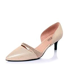 Joy&Peace/真美诗春季专柜同款粉紫山羊皮优雅小尖头女皮凉鞋ZH420AK6
