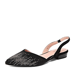 Joy&Peace/真美诗春季专柜同款黑色羊皮女凉鞋ZR105AH6