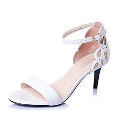 Joy&Peace/真美诗夏季专柜同款白色皮布拼接优雅细高跟女凉鞋ZI209BL6