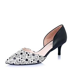 Joy&Peace/真美诗春季专柜同款黑白/黑女凉鞋ZH434AK6