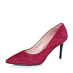Joy&Peace/真美诗秋季专柜同款暗红羊皮复古流线系列女单鞋ZJ829CQ6