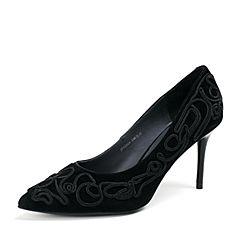 Joy&Peace/真美诗秋季专柜同款黑色羊皮女单鞋ZJ824CQ6