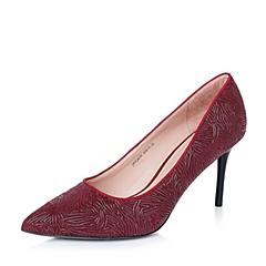 Joy&Peace/真美诗秋季专柜同款红色猪皮/羊皮复古中世纪优雅线纹女单鞋ZJ839CQ6