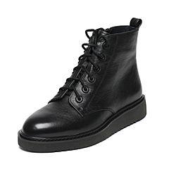 Joy&Peace/真美诗冬季专柜同款黑色牛皮女休闲靴ZY127DD6